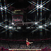Lu Sui,China,  in action during her Silver Medal performance during the Women's Gymnastics Apparatus Beam final at North Greenwich Arena during the London 2012 Olympic games London, UK. 7th August 2012. Photo Tim Clayton