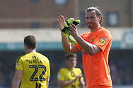 Burton Albion goalkeeper Stephen Bywater (1) applauds the fans during the EFL Sky Bet League 1 match between Southend United and Burton Albion at Roots Hall, Southend, England on 22 April 2019.