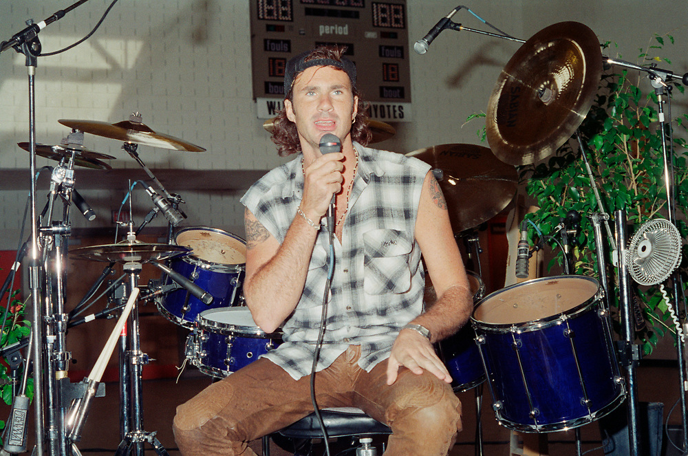 BETHLEHEM - SEPTEMBER 25: Red Hot Chili Peppers drummer Chad Smith performs during a clinic at California Drum Shop on September 25, 1993, in Bethlehem, Pennsylvania. (Photo by Lisa Lake)