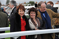 Left to right, KATHY LETTE and RUBY WAX at the Hennessy Gold Cup at Newbury Racecourse, Berkshire on 26th November 2011.