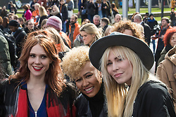 """City Hall, London, March 5th 2017. Stars join March4Women through London. Mayor of London Sadiq Khan and suffragette descendents prepare to march and """"sing for a fairer world ahead of International Women's Day"""". Attended by Annie Lennox, Emeli Sande, Helen Pankhurst, Bianca Jagger and with musical performances from Emeli Sande, Melanie C and more. PICTURED: (L-R) Kate Nash, Enile Sandé, Natasha Beddinfield"""