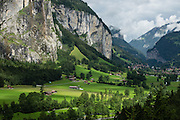 """Staubbach Falls (Staubbachfall) is the highest waterfall in Switzerland, plunging 1000 feet (300 meters) into Lauterbrunnen Valley, in the Berner Oberland, the Alps, Europe. The Bernese Highlands are the upper part of Bern Canton. UNESCO lists """"Swiss Alps Jungfrau-Aletsch"""" as a World Heritage Area."""