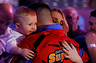 CUTENESS OVERLOAD Daryl Gurney and his partner and baby boy after his Second Round victory against Ross Smith during the Darts World Championship 2018 at Alexandra Palace, London, United Kingdom on 18 December 2018.