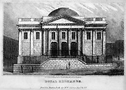 Front Elevation Royal Exchange, Dublin From the guide book ' The new picture of Dublin : or Stranger's guide through the Irish metropolis, containing a description of every public and private building worthy of notice ' by Hardy, Philip Dixon, 1794-1875. Published in Dublin in 1831 by W. Curry.