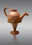 Hittite terra cotta side spouted tapered base teapot. Hittite Empire, Alaca Hoyuk, 1450 - 1200 BC. Alaca Hoyuk. Çorum Archaeological Museum, Corum, Turkey .<br />  <br /> If you prefer to buy from our ALAMY STOCK LIBRARY page at https://www.alamy.com/portfolio/paul-williams-funkystock/hittite-art-antiquities.html  - Alaca Hoyuk into the LOWER SEARCH WITHIN GALLERY box. Refine search by adding background colour, place,etc<br /> <br /> Visit our HITTITE PHOTO COLLECTIONS for more photos to download or buy as wall art prints https://funkystock.photoshelter.com/gallery-collection/The-Hittites-Art-Artefacts-Antiquities-Historic-Sites-Pictures-Images-of/C0000NUBSMhSc3Oo