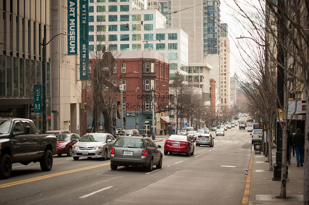 2017 DECEMBER 12 - View of 1st Ave looking south from Union Street, Seattle, WA, USA. At left is Seattle Art Museum. By Richard Walker