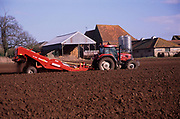 A913MA Tractor and trailer planting potato crop in field Suffolk sandlings England