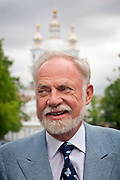 St Petersburg, Russia, 31/05/2005..Peter Dussmann, CEO of the Dussmann Group, visits Russia in connection with contracts his company have signed to upgrade and maintain the city's cleaning and related services. After meeting with St Petersburg Deputy Governor Oleg Virolainen.
