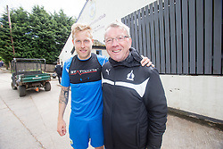 Ex-Falkirk player Scott Arfield with Alex Smith. Falkirk FC training for the Cup Final at Burnley's training ground.