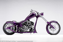 A custom motorcycle built from a 2003 HD Twin Cam, by Paul Papke. Photographed by Michael Lichter in Charlotte, SC, USA on 1/24/19. ©2019 Michael Lichter.