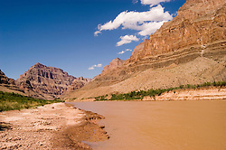 Scenic of Colorado River at the bottom of Grand Canyon, Arizona, AZ, cliffs, landscape, horizontal, arid, erosion, nature, muddy water, Image nv450-18546.Photo copyright: Lee Foster, www.fostertravel.com, lee@fostertravel.com, 510-549-2202