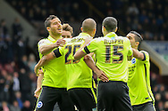 Brighton striker Bobby Zamora scores during the Sky Bet Championship match between Burnley and Brighton and Hove Albion at Turf Moor, Burnley, England on 22 November 2015. Photo by Simon Davies.