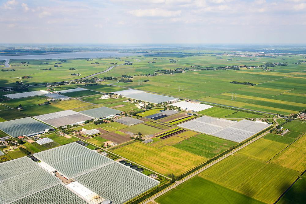 Nederland, Overijssel, Gemeente Zwartewaterland, 27-08-2013; Polder De Koekoek (Koekoekspolder), kassengebied in het noordwestelijkkwadrant van Polder Mastenbroek, ten Oosten van Kampen en IJsselmuiden.<br /> Polder De Koekoek, greenhouse area  in corner of mediaeval polder. Rural area East Holland.<br /> luchtfoto (toeslag op standaard tarieven);<br /> aerial photo (additional fee required);<br /> copyright foto/photo Siebe Swart.