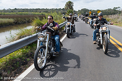 Shaun Ponce (L) and Steve Hatcher riding through Tomoka State Park during Daytona Bike Week 75th Anniversary event. FL, USA. Thursday March 3, 2016.  Photography ©2016 Michael Lichter.