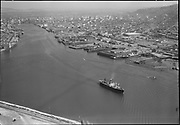 """Ackroyd 05441-16 """"Aerials. August 1, 1954"""" """"Lower harbor"""" (NW Portland waterfront. old Shaver site on extreme right)"""