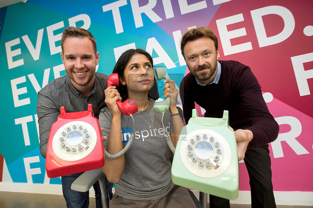 Repro Free: Dublin – 20 May 2016 – Cian Barrett and Natasha Kalidin of LinkedIn are pictured with Mike Mansfield, Head of Marketing, Plan International Ireland as the charity announced that it has benefited by €1,000,000 from its award winning 'Calling for a Cause' partnership with LinkedIn, which involves the online professional network's staff volunteering their time each month to call donors to Plan Ireland. The milestone was reached on LinkedIn's Giving Back InDay on Friday 20 May as part of National Volunteering Week.<br /> <br /> The nature of the 'Calling for a Cause' calls vary from a simple 'thank you', a personal invitation to an upcoming event or an update on their contribution. These calls have helped to generate increased donor loyalty, resulting in a substantial financial benefit to the charity over the past five years. As a result, 'Calling for a Cause' is now an integral part of Plan International Ireland's communication and fundraising strategy.<br /> <br /> The partnership forms part of LinkedIn's policy of giving all of their staff a day every month, called an 'InDay', to invest in themselves and causes that they are passionate about as part of the unique culture at the company. With 1,000 staff at LinkedIn's international headquarters in Dublin, 'Calling for a Cause' is one of the most popular initiatives among employees. Picture Andres Poveda<br />