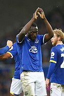 Romelu Lukaku of Everton celebrates after scoring his teams 3rd goal. Premier league match, Everton v West Bromwich Albion at Goodison Park in Liverpool, Merseyside on Saturday 11th March 2017.<br /> pic by Chris Stading, Andrew Orchard sports photography.