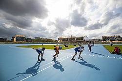 BUENOS AIRES, Oct. 9, 2018  Vincenzo Maiorca (R) of Italy, Merijn Scheperkamp (C) of the Netherlands and Nahuel Schelling of Argentina compete during the men's combined 500m sprint semifinal of the roller speed skating event at the 2018 Summer Youth Olympic Games in Buenos Aires, Argentina on Oct. 8, 2018. (Credit Image: © Li Ming/Xinhua via ZUMA Wire)