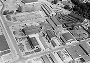 Ackroyd 07027-1. Northwest Marine Iron Works. Schmitt Steel 2765 NW Nicolai St. Guilds Lake area. Street above is NW 28th Avenue, below is NW 29th Avenue. Left is NW Industrial Street. July 27, 1956