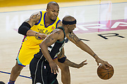 Golden State Warriors forward David West (3) loses the ball against the Milwaukee Bucks at Oracle Arena in Oakland, Calif., on March 29, 2018. (Stan Olszewski/Special to S.F. Examiner)