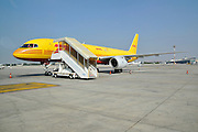 Israel, Ben-Gurion international Airport Yellow DHL cargo plane