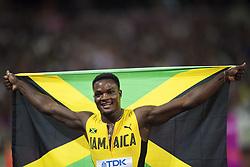August 7, 2017 - London, STORBRITANNIEN - 170807 Jamaicas Omar McLeod jublar efter att ha vunnit finalen pÅ' 110 meter hÅck under dag fyra av friidrotts-VM den 7 augusti 2017 i London  (Credit Image: © Joel Marklund/Bildbyran via ZUMA Wire)