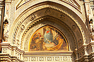 The Dome Catheral - Detail of St Mary Of The Flower  picture  and  main entrance -  Florence Italy .<br /> <br /> Visit our ITALY PHOTO COLLECTION for more   photos of Italy to download or buy as prints https://funkystock.photoshelter.com/gallery-collection/2b-Pictures-Images-of-Italy-Photos-of-Italian-Historic-Landmark-Sites/C0000qxA2zGFjd_k<br /> .<br /> <br /> Visit our MEDIEVAL PHOTO COLLECTIONS for more   photos  to download or buy as prints https://funkystock.photoshelter.com/gallery-collection/Medieval-Middle-Ages-Historic-Places-Arcaeological-Sites-Pictures-Images-of/C0000B5ZA54_WD0s