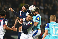 West Bromwich Albion midfielder Alex Mowatt (27)heads the ball  during the EFL Sky Bet Championship match between West Bromwich Albion and Derby County at The Hawthorns, West Bromwich, England on 14 September 2021.