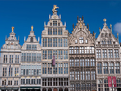 historic buildings in Grote Markt square in Antwerp Belgium