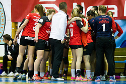 Players of ZRK Mlinotest Ajdovscina during handball match between ZRK Mlinotest Ajdovscina and RK Zagorje in 17th Round of Slovenian Women Handball League 2015/16 on April 6, 2016 in Sports hall Police Ajdovscina, Ajdovscina, Slovenia. Photo By Urban Urbanc / Sportida
