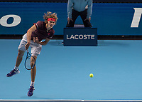 Tennis - 2017 Nitto ATP Finals at The O2 - Day Three<br /> <br /> Group Boris Becker Singles: Roger Federer (Switzerland) Vs Alexander Zverev (Germany)<br /> <br /> Alexander Zverev (Germany) serving at the O2 Arena<br /> <br /> COLORSPORT/DANIEL BEARHAM