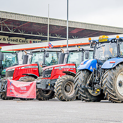 Farmers unite in the county ground as MP's head in talks to debate and vote on the agriculture bill Swindon Wiltshire UK 09/10/2020