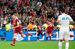 Jordan Henderson of Liverpool celebrates during the UEFA Champions League final football match between Liverpool and Real Madrid at the Olympic Stadium in Kiev, Ukraine on May 26, 2018.Photo by Sandi Fiser / Sportida