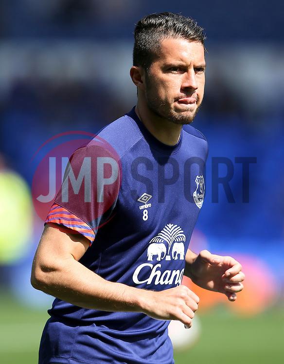 Everton's Bryan Oviedo warms up - Mandatory byline: Matt McNulty/JMP - 07966386802 - 08/08/2015 - FOOTBALL - Goodison Park -Liverpool,England - Everton v Watford - Barclays Premier League