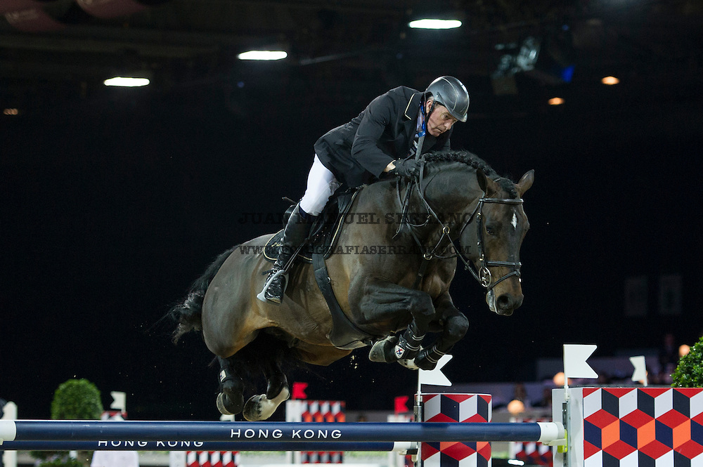 John Whitaker on Argento competes during Longines Grand Prix at the Longines Masters of Hong Kong on 21 February 2016 at the Asia World Expo in Hong Kong, China. Photo by Juan Manuel Serrano / Power Sport Images