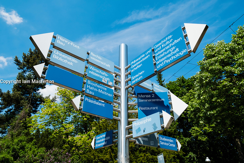 Sign post at Free University of Berlin in Dahlem ,Berlin Germany