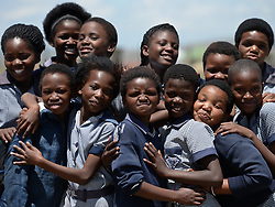 Nov. 19, 2014 - Mthatha, Eastern Cape, South Africa - Happy pupils faces, Zwelinzima Junior secondary school, as they enjoying their break time. Mziya, Mthentu Administrative Area  Location. Mandela's homeland of Mthatha. Eastern Cape, South Africa. (Picture by: Artur Widak/NurPhoto) (Credit Image: © Artur Widak/NurPhoto/ZUMA Wire)