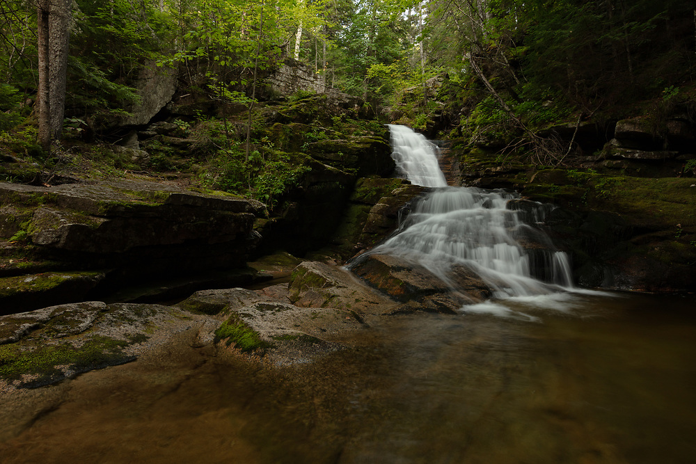 The peaceful scenery of a summer after at the Waterville Valley Cascades.