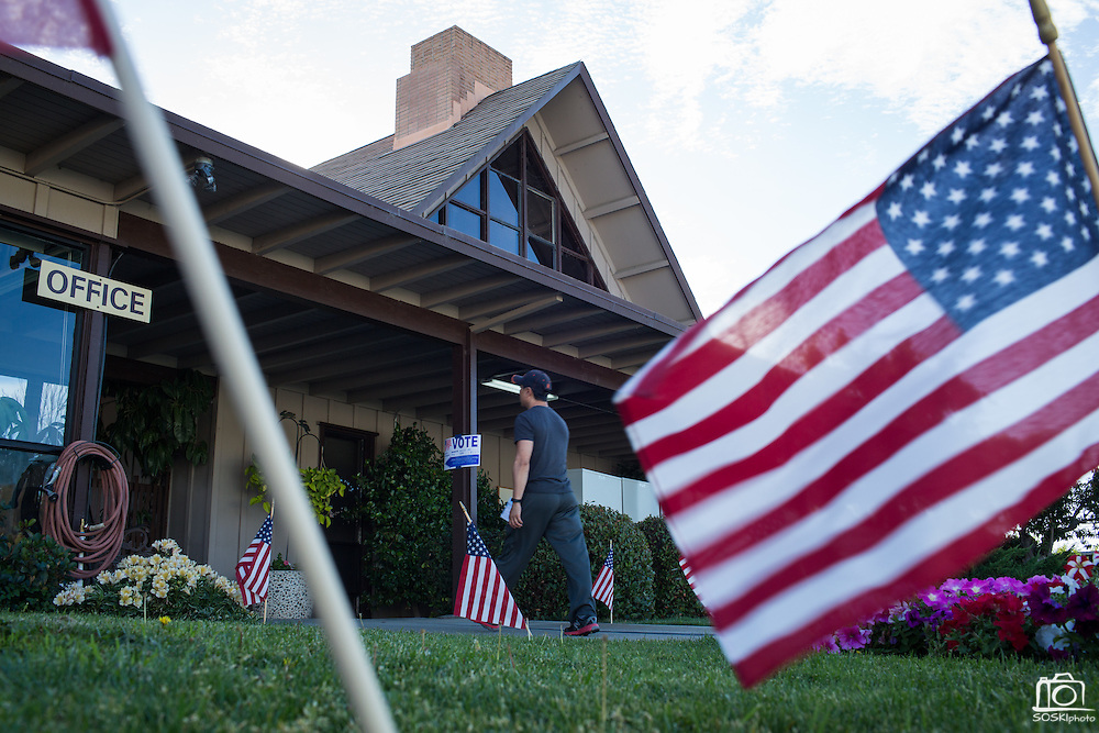 A voter walks into Pioneer Mobile Home Park during the California Presidential Election in Milpitas, California, on June 7, 2016. (Stan Olszewski/SOSKIphoto)