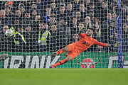Tottenham Hotspur goalkeeper Paulo Gazzaniga (22) dives the wrong way for the penalty from Chelsea defender David Luiz (30) during the EFL Cup semi final second leg match between Chelsea and Tottenham Hotspur at Stamford Bridge, London, England on 24 January 2019.