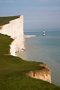 Beachy Head lighthouse and chalk cliffs, East Sussex, England