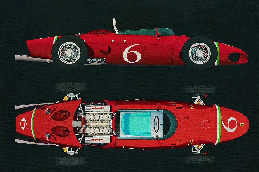 From the moment you see something like the Ferrari 156, your heart begins to race. This vehicle could be seen as an iconic example of our constant fascination with two things. We love to build complex, powerful machines. We like it even more, when those machines can go really, really fast. This art piece depicting the Ferrari 156 plays with both of those thoughts in the best way possible. It isn't difficult to hear the sound of that perfect engine, ripping the racetrack as it hugs a turn that has to be seen to be believed. T -<br /> BUY THIS PRINT AT<br /> <br /> FINE ART AMERICA<br /> ENGLISH<br /> https://janke.pixels.com/featured/1-ferrari-156-shark-nose-1961-jan-keteleer.html<br /> <br /> WADM / OH MY PRINTS<br /> DUTCH / FRENCH / GERMAN<br /> <br /> https://www.werkaandemuur.nl/nl/shopwerk/Ferrari-156-Haaienneus-1961/589383/132<br /> -