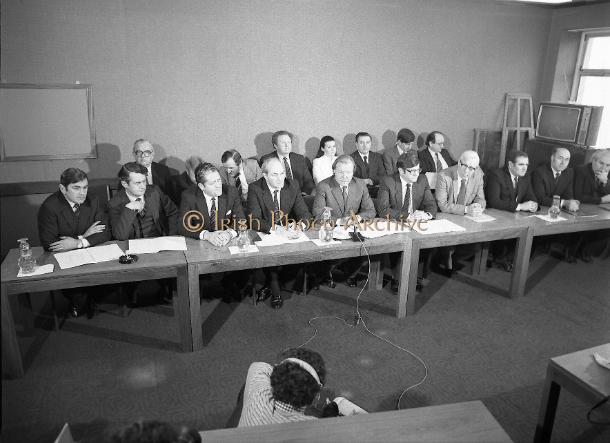 Fianna Fáil Front Bench at Press Conference January 1982..1982-01-14.14th January 1982..14/01/1982.01.14.82...Charles Haughey presents his front bench to the waiting media..Pictured at Leinster House..Front row From Left: ..Ray McSharry TD: Spokesman on Fisheries..Des O'Malley TD:.Spokeman on Industry and Commerce..Brian Lenihan TD:..George Colley TD: Deputy Leader and Spokesman on Energy..Charles Haughey TD: Leader of the Opposition..Ray Burke TD: Leader of the House..Sean Moore TD: Spokesman on Social Welfare..Gene Fitzgerald TD: Spokesman on Labour and Public Service..Martin O'Donoghue TD: Spokesman on Finance..Included in back row from left:...Second - Sean Doherty (partial)..Third - Albert Reynolds..Fifth - Maire Geoghegan Quinn.