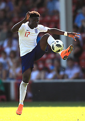 England U17's Bukayo Saka during the UEFA European U17 Championship, Group A match at Banks's Stadium, Walsall. PRESS ASSOCIATION Photo. Picture date: Monday May 7, 2018. See PA story SOCCER England U17. Photo credit should read: Mike Egerton/PA Wire. RESTRICTIONS: Editorial use only. No commercial use.