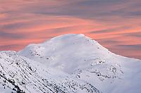 Winter sunset over  Mount Rohr, Coast Mountains British Columbia