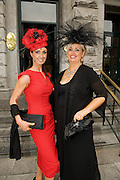 Eva Morrissey, Castletroy, Co. Limerick and Deirdre McCarthy Dublin at Hotel Meyrick in Eyre Sq. Galway for their best dressed Lady Competition during Galway's Race week . Photo:Andrew Downes