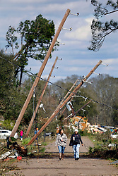 24 February 2016. Schexnaydre St, Convent, Louisiana.<br /> Scenes of devastation following a deadly EF2 tornado touchdown. 2 confirmed dead. <br /> Photo©; Charlie Varley/varleypix.com