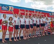 Amsterdam. NETHERLANDS.   USA W8+. Bow Victoria OPITZ, Meghan MUSNICKI, Amanda POLK, Lauren SCHMETTERLING, Grace LUCZAK, Caroline LIND, Eleanor LOGAN Heidi ROBBINS and cox Katelin SNYDER. Gold medalist Women's Eight. .  De Bosbaan Rowing Course, venue for the 2014 FISA  World Rowing. Championships. 14:15:49  Sunday  31/08/2014.  [Mandatory Credit; Peter Spurrier/Intersport-images]
