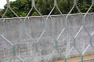 A view of the exterior wall of the prison from a window on the recreational ground, Onomichi prison , Japan. May 19th 2008. The prison is operating at 106% capacity of prisoners.
