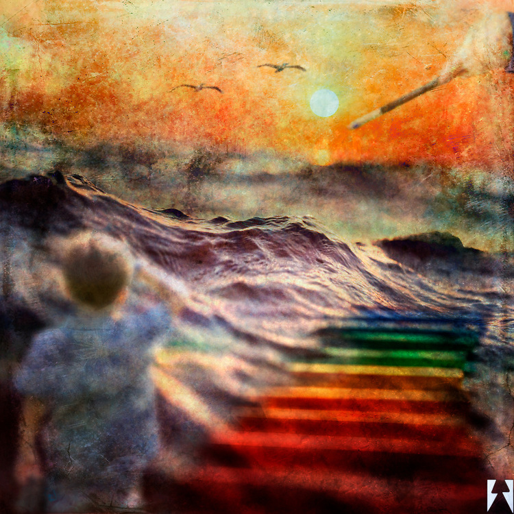 A boy looks out upon a massive swell in the ocean. It's sunset. There is a child's hand holding an artist's paintbrush pointed to under the sun and the sky is a pastel colored canvas. Rainbow colored steps extend out into the ocean next to the boy and there are two pelicans in flight also.